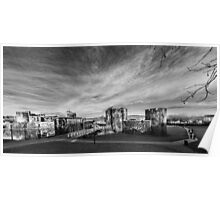 Caerphilly Castle Panorama Monochrome Poster