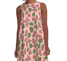 Whole Watermelons Wedged and Sliced Pattern on Pink Background A-Line Dress