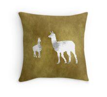 Grunge Llama Art Throw Pillow