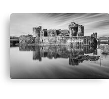 Caerphilly Castle Monochrome Canvas Print