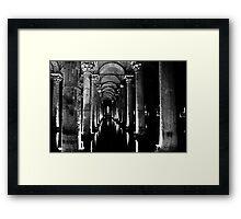 Basilica Cistern in Black and White   Framed Print