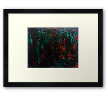 Abstract Green Orange Drip Painting Acrylic On Canvas Board Framed Print