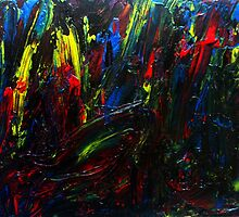 Abstract Yellow Red Blue Drip Painting Acrylic On Canvas Board by JamesPeart