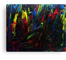 Abstract Yellow Red Blue Drip Painting Acrylic On Canvas Board Canvas Print
