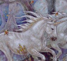 Unicorn Autumn Run Sticker