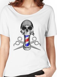 Barber Skull and Scissors Women's Relaxed Fit T-Shirt