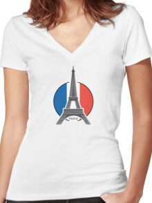 Around the world - Paris Women's Fitted V-Neck T-Shirt