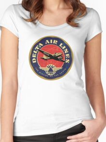 Delta Airlines Vintage USA Women's Fitted Scoop T-Shirt