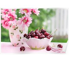 cherries in a bowl Poster