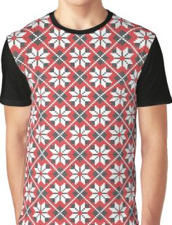 Red and black seamless cross-stitch pattern Graphic T-Shirt