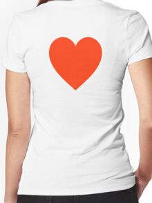 Heart, Romance, Love, Red, Love Heart, Pure & Simple, on WHITE Women's Fitted V-Neck T-Shirt