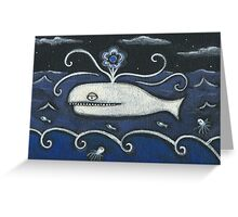 Whale Flower Power Greeting Card