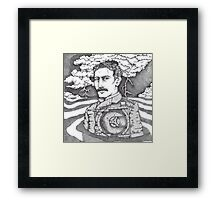 Tesla and His Bladeless Turbine Framed Print