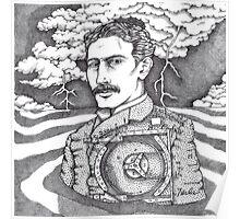Tesla and His Bladeless Turbine Poster