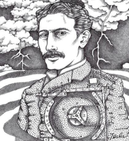 Tesla and His Bladeless Turbine Sticker