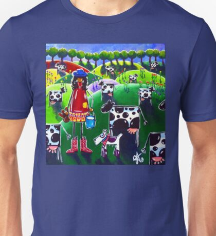 Moo Cow Farm Dog Hills Trees Flowers Milk Milking Girl Cowboy Boots Hat Country  Unisex T-Shirt