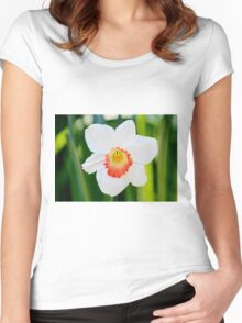 White Daffodil Women's Fitted Scoop T-Shirt