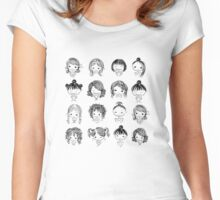 Set of cute girl characters, cartoon Women's Fitted Scoop T-Shirt