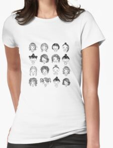 Set of cute girl characters, cartoon Womens Fitted T-Shirt