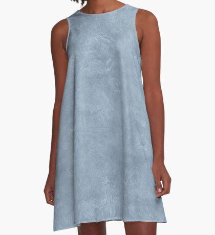Dusty Blue Oil Pastel Color Accent A-Line Dress