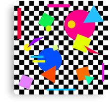 Retro Shapes On Black & White Check - 80s 80's 1980s 1980's 1980 Classic Throw Back Canvas Print