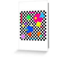 Retro Shapes On Black & White Check - 80s 80's 1980s 1980's 1980 Classic Throw Back Greeting Card
