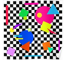 Retro Shapes On Black & White Check - 80s 80's 1980s 1980's 1980 Classic Throw Back Poster
