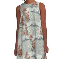 South Pacific Tropical Print A-Line Dress