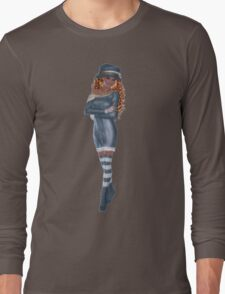 African American Woman Wearing with Red Hair Blue Navy Hat, Dress, Socks and Shoes Long Sleeve T-Shirt