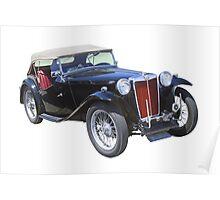 Black Mg Tc Antique Car Poster