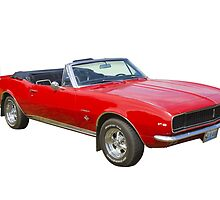 1967 Convertible Red Camaro Muscle Car by KWJphotoart