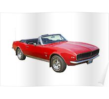 1967 Convertible Red Camaro Muscle Car Poster