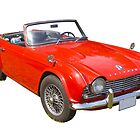 Red Triumph Tr4 Convertible Sports Car by KWJphotoart