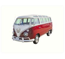 Red And White VW 21 window Mini Bus Art Print