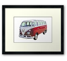 Red And White VW 21 window Mini Bus Framed Print