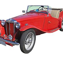 Red MG Convertible Antique Car by KWJphotoart