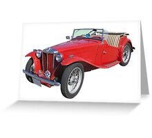 Red MG Convertible Antique Car Greeting Card