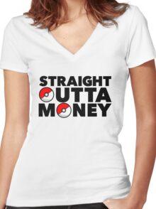 Pokemon Go - Straight Outta Money Women's Fitted V-Neck T-Shirt