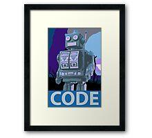 CODE Blue Robot Framed Print