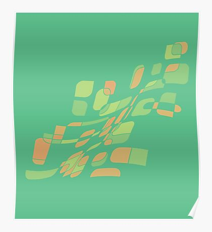 Green and orange abstract design Poster