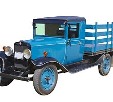 1929 Blue chevy Antique Truck Stake Body by KWJphotoart