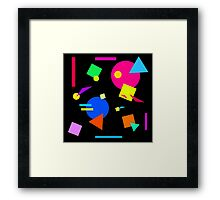 Coloured Retro (Small) Shapes  - Black - 80s 80's 1980s 1980's 1980 Classic Throw Back Framed Print