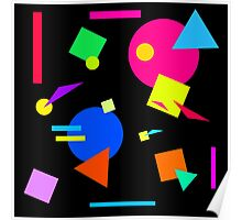 Coloured Retro (Small) Shapes  - Black - 80s 80's 1980s 1980's 1980 Classic Throw Back Poster