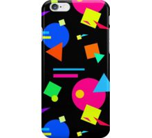 Coloured Retro (Small) Shapes  - Black - 80s 80's 1980s 1980's 1980 Classic Throw Back iPhone Case/Skin