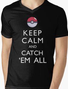 Keep Calm and Catch 'Em All Pokemon Mens V-Neck T-Shirt
