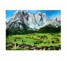 Tyrol Austrian Mountains Europe Landscape Contemporary Acrylic Painting Art Print
