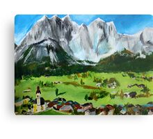 Tyrol Austrian Mountains Europe Landscape Contemporary Acrylic Painting Metal Print