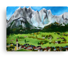 Tyrol Austrian Mountains Europe Landscape Contemporary Acrylic Painting Canvas Print