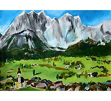Tyrol Austrian Mountains Europe Landscape Contemporary Acrylic Painting Photographic Print