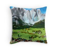 Tyrol Austrian Mountains Europe Landscape Contemporary Acrylic Painting Throw Pillow
